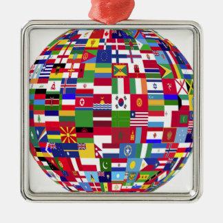 Monde des drapeaux ornement carré argenté