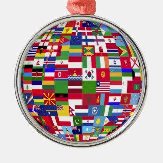 Monde des drapeaux ornement rond argenté