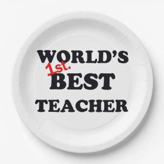 Monde ęr. Le meilleur professeur Assiettes En Papier