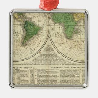 Monde montré en tant que deux hémisphères ornement carré argenté