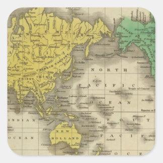 Monde sur la projection de Mercator Sticker Carré