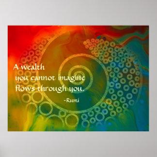 Mondes d'art poétique de Rumi de merveille Poster
