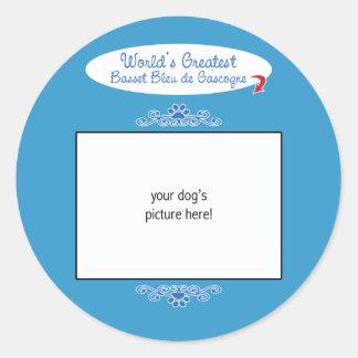 Mondes faits sur commande plus grand Basset Bleu Sticker Rond