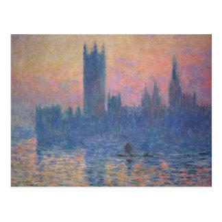 Monet - Chambres du Parlement au coucher du soleil Carte Postale