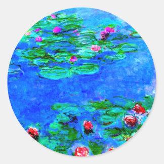 Monet : Illustration de rouge de nénuphars Sticker Rond