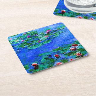 Monet - nénuphars (rouges) dessous-de-verre carré en papier