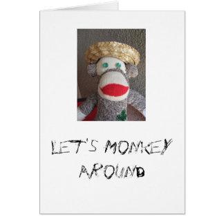 Monkey autour la carte de singe de chaussette