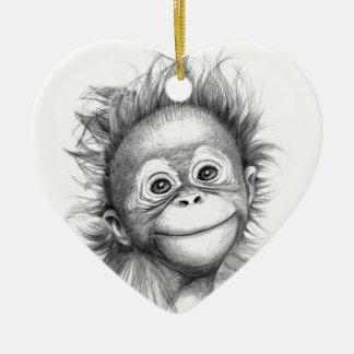 Monkey - Baby Orang outan 2016 G-121 Ornement Cœur En Céramique