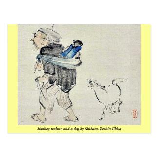 Monkey l'entraîneur et un chien par Shibata, Zeshi Cartes Postales