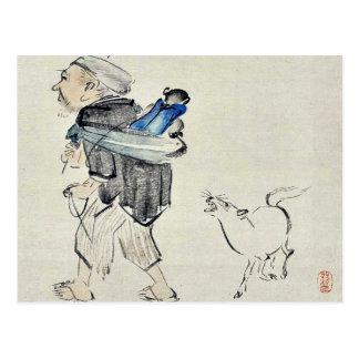 Monkey l'entraîneur et un chien par Shibata, Zeshi Carte Postale