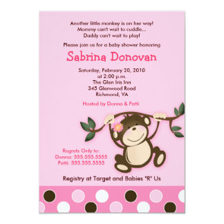 "Monkey Play Girl Baby Shower Invitation 4.5"" X 6.25"" Invitation Card"