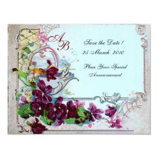 MONOGRAMME 2 de ROMANTICA 4, bleu Invitations Personnalisables