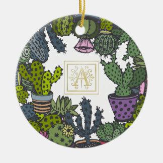 Monogramme A de cactus Ornement Rond En Céramique