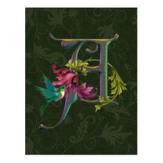 Monogramme A de colibri Carte Postale