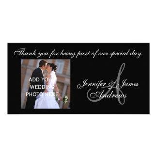 Monogramme A de Merci de mariage et message Carte Avec Photo