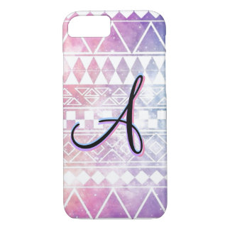 """Monogramme """"A"""" sur un pastel, Chevron, galaxie Coque iPhone 7"""