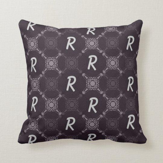 Monogramme abstrait noir de motif oreiller