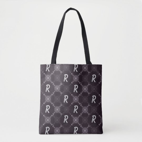Monogramme abstrait noir de motif tote bag