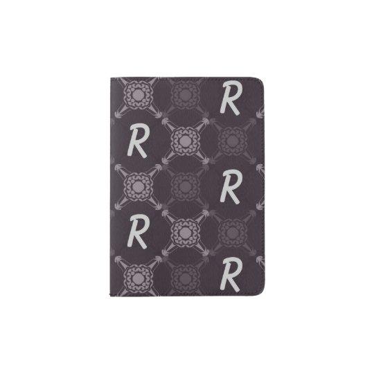 Monogramme abstrait noir protège-passeport