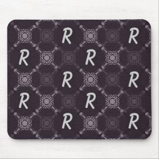 Monogramme abstrait noir tapis de souris
