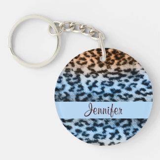 Monogramme animal coloré de bleu de léopard de porte-clé rond en acrylique double face