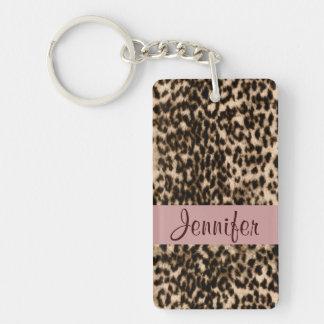 Monogramme animal de rose de brun de léopard de porte-clé rectangulaire en acrylique double face