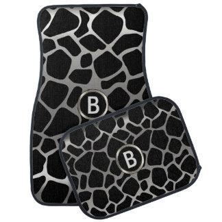 Monogramme animal du motif | de girafe argentée et tapis de voiture