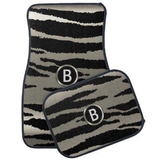 Monogramme animal du motif | de zèbre argenté et tapis de sol