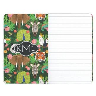 Monogramme animal tropical du mélange | carnet de poche