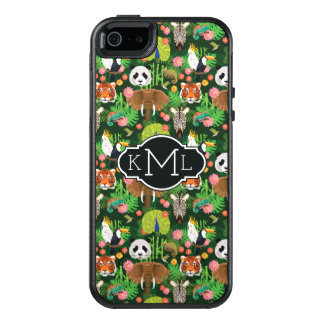 Monogramme animal tropical du mélange | coque OtterBox iPhone 5, 5s et SE
