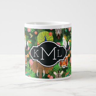 Monogramme animal tropical du mélange | mug