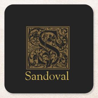 Monogramme antique de S Dessous-de-verre Carré En Papier