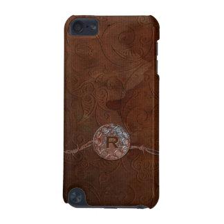 Monogramme antique rustique de cuir de relief de s coque iPod touch 5G