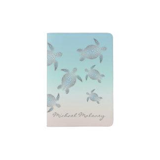 Monogramme argenté de tortue de mer protège-passeport