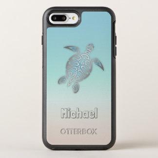 Monogramme argenté de tortues de mer coque OtterBox symmetry iPhone 8 plus/7 plus