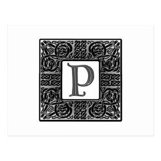 """Monogramme argenté du Celtic """"P"""" Carte Postale"""
