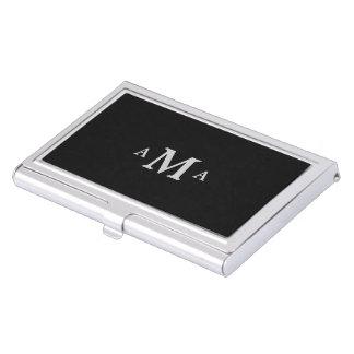 Monogramme argenté noir chic porte-cartes de visite