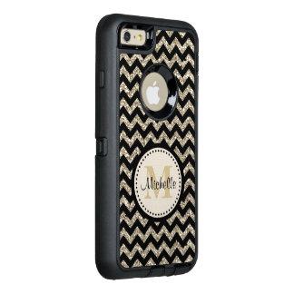 Monogramme argenté noir d'or de Chevron Coque OtterBox iPhone 6 Et 6s Plus