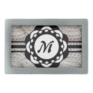 Monogramme argenté scintillant de chandail de Knit Boucles De Ceinture Rectangulaires