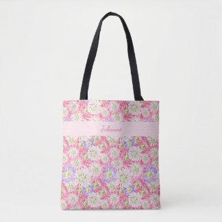 Monogramme assez floral de rose en pastel et de sac