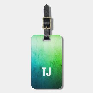 Monogramme audacieux blanc de vert frais simple de étiquette à bagage