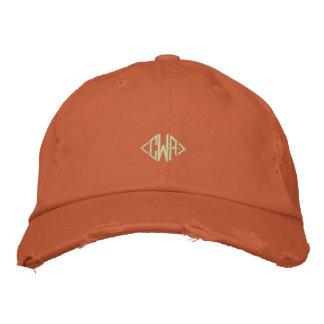 Monogramme avec la casquette de baseball orange