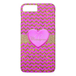 Monogramme avec le coeur sur le rose et le motif coque iPhone 7 plus