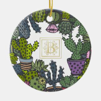 Monogramme B de cactus Ornement Rond En Céramique