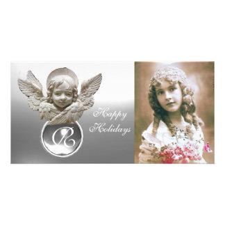 Monogramme blanc de gemme d'ANGE FLORENTIN de la Cartes De Vœux Avec Photo