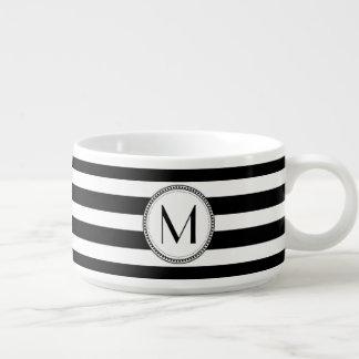 Monogramme blanc de motif rayé du noir   bol pour chili