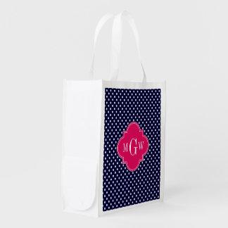 Monogramme blanc de Quatrefoil 3 de framboise de Sacs D'épicerie Réutilisables