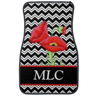 Monogramme blanc de Zizzag Chevron de noir rouge Tapis De Sol