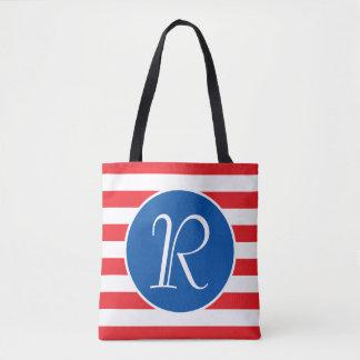 Monogramme blanc et bleu rouge tote bag