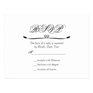 Monogramme blanc et noir élégant RSVP de Flourish Cartes Postales